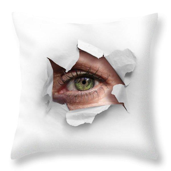 Peek Through A Hole Throw Pillow by Carlos Caetano