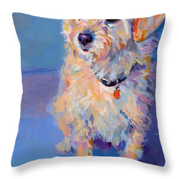 Penny Peach Throw Pillow by Kimberly Santini