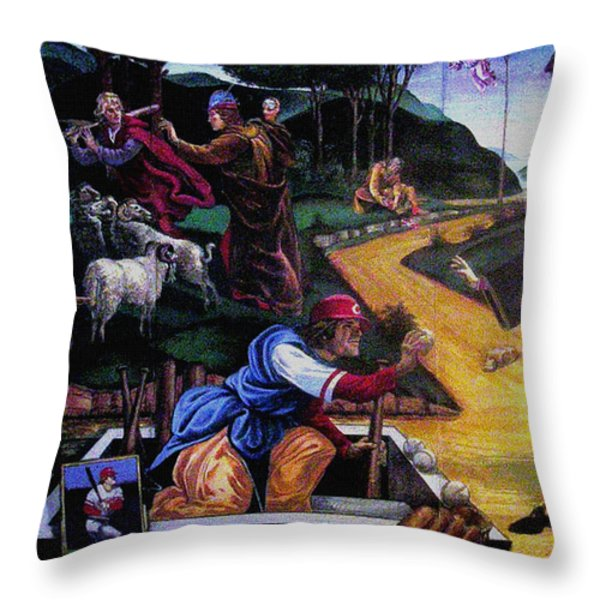 Pete Rose In The Renaissance Throw Pillow by Stan Esson