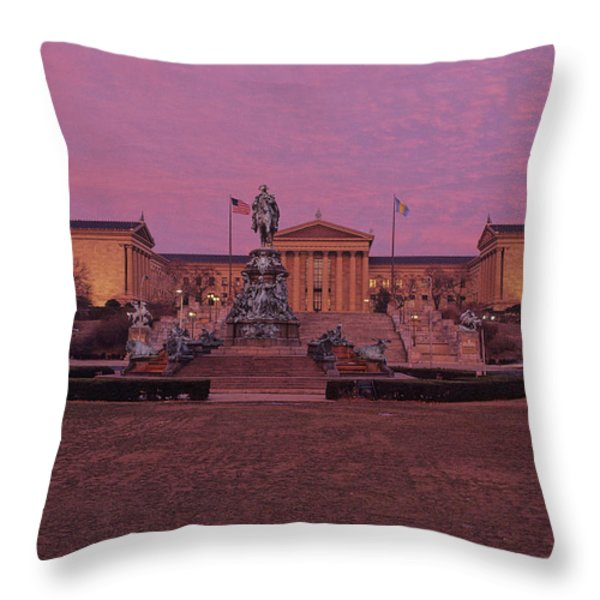 Philadelphia Art Museum At Dusk Throw Pillow by Kenneth Garrett