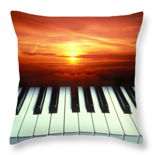Piano Keys Sunset Throw Pillow by Garry Gay