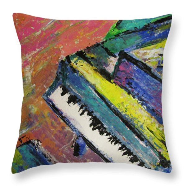 Piano With Yellow Throw Pillow by Anita Burgermeister