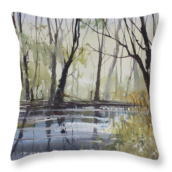 Pine River Reflections Throw Pillow by Ryan Radke