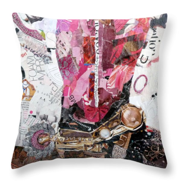 Pink Boot 2 Throw Pillow by Suzy Pal Powell