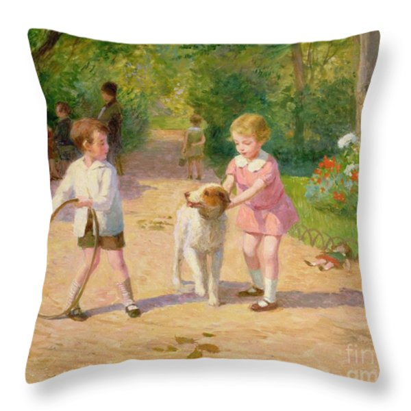 Playing With The Hoop Throw Pillow by Victor Gabriel Gilbert