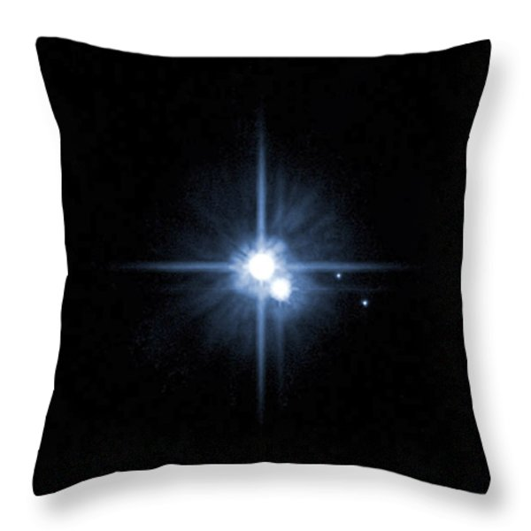 Pluto And Its Moons Charon, Hydra Throw Pillow by Stocktrek Images