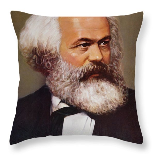 Portrait Of Karl Marx Throw Pillow by Unknown
