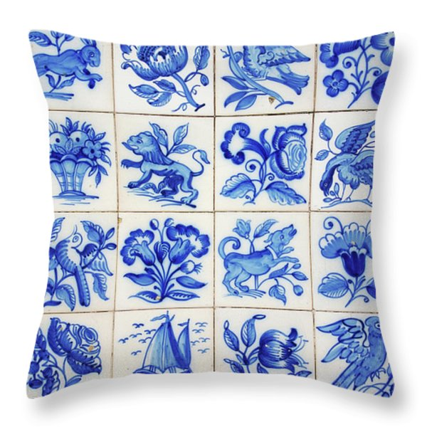 Portuguese Tiles Throw Pillow by Carlos Caetano