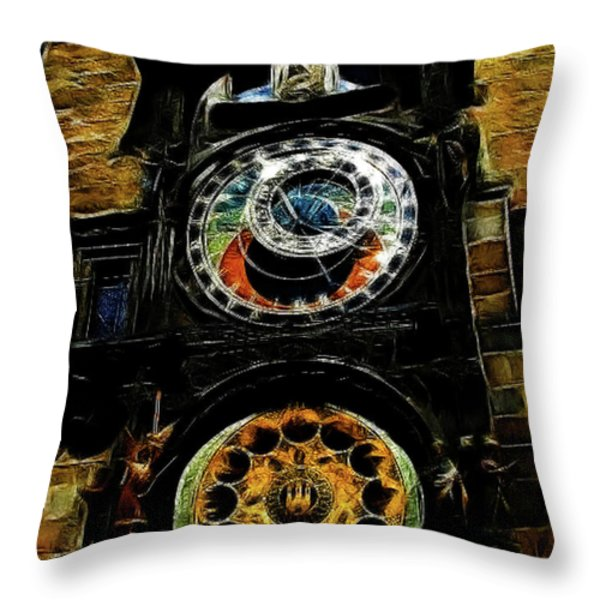 Prague Clock Throw Pillow by Joan  Minchak