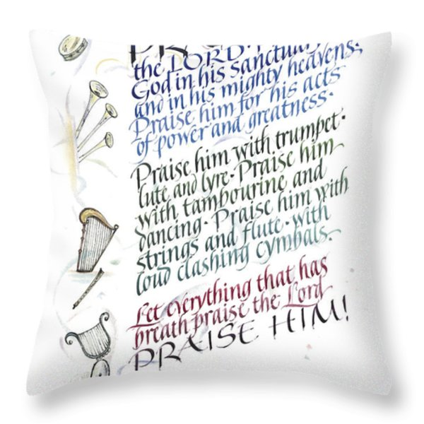 Praise The Lord Throw Pillow by Judy Dodds