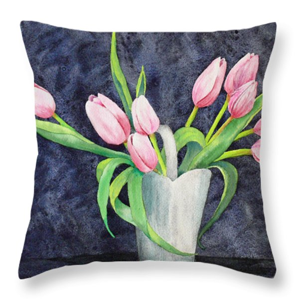 Pretty Pink Tulips Throw Pillow by Dee Carpenter