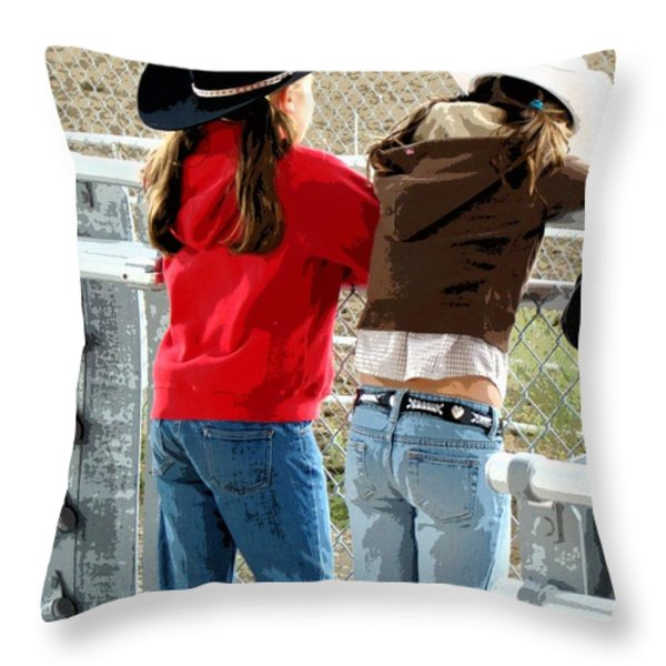 Pretty Young Cowgirls  Throw Pillow by Al Bourassa