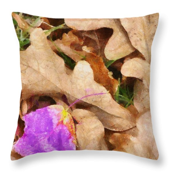 Punk Leaf Throw Pillow by Jeff Kolker
