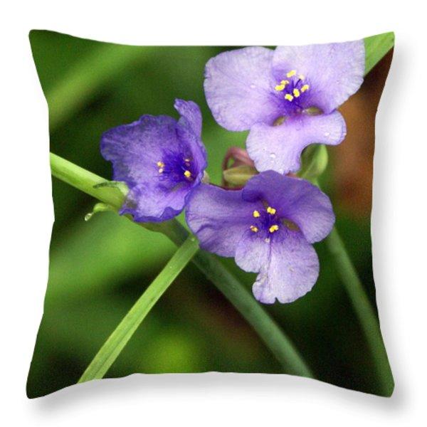 Purple Flower Throw Pillow by Marty Koch