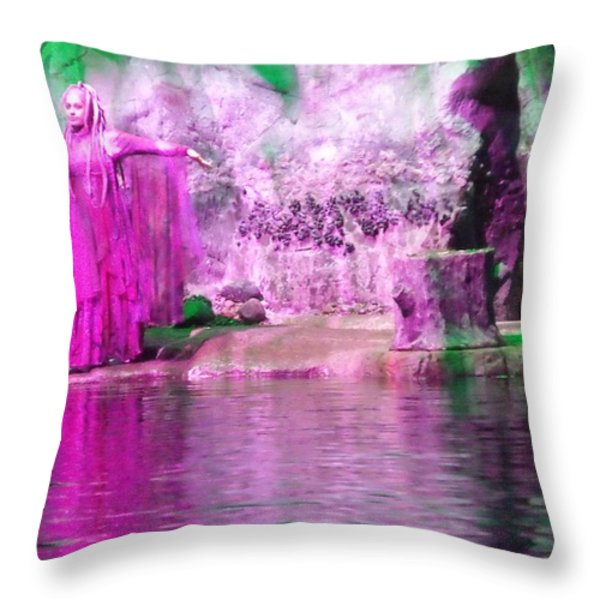Purple Siren Throw Pillow by Anna Villarreal Garbis
