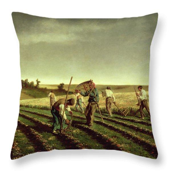 Reaping Sainfoin In Chambaudouin Throw Pillow by Pierre Edmond Alexandre Hedouin