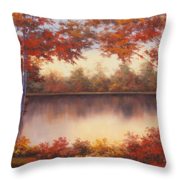 Red And Gold Throw Pillow by Diane Romanello