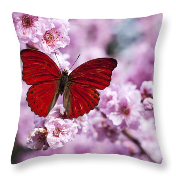 Red Butterfly On Plum  Blossom Branch Throw Pillow by Garry Gay
