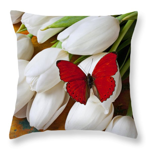 Red Butterfly On White Tulips Throw Pillow by Garry Gay
