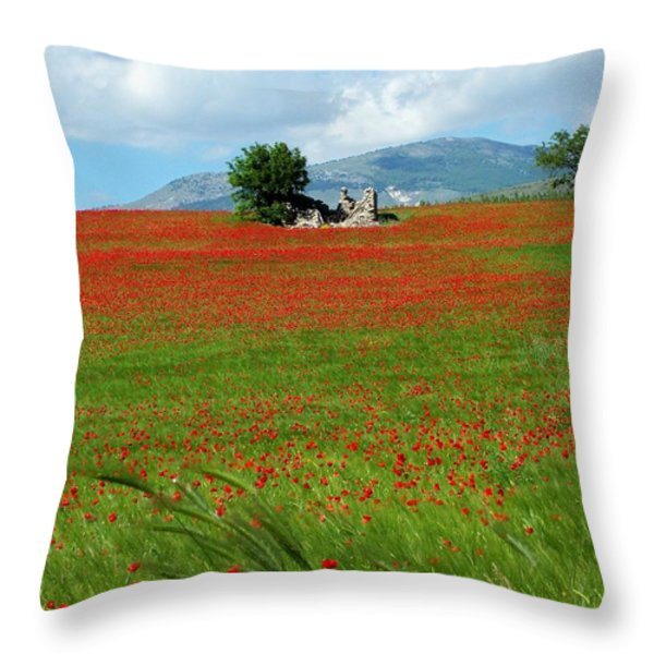 Red Fields Throw Pillow by Judy Kirouac