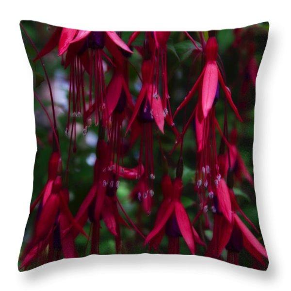 Red Fuchsia Throw Pillow by Svetlana Sewell