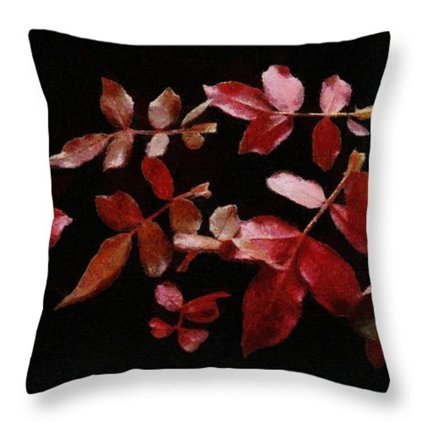 Red Leaves Throw Pillow by Jeff Kolker