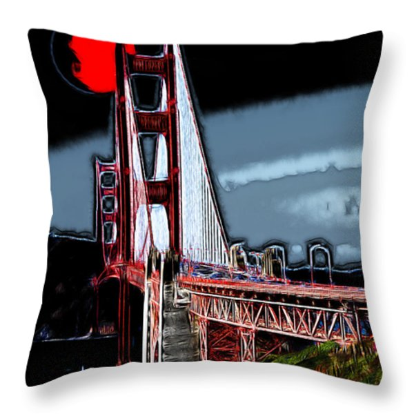 Red Moon Over The Golden Gate Bridge Throw Pillow by Wingsdomain Art and Photography