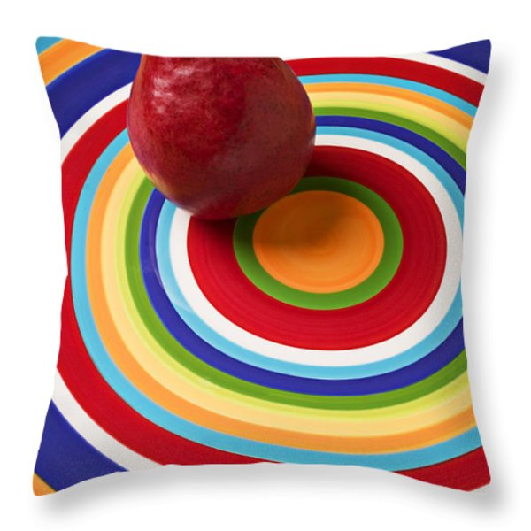 Red Pear On Circle Plate Throw Pillow by Garry Gay