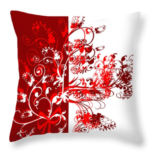 Red Swirl Throw Pillow by Svetlana Sewell