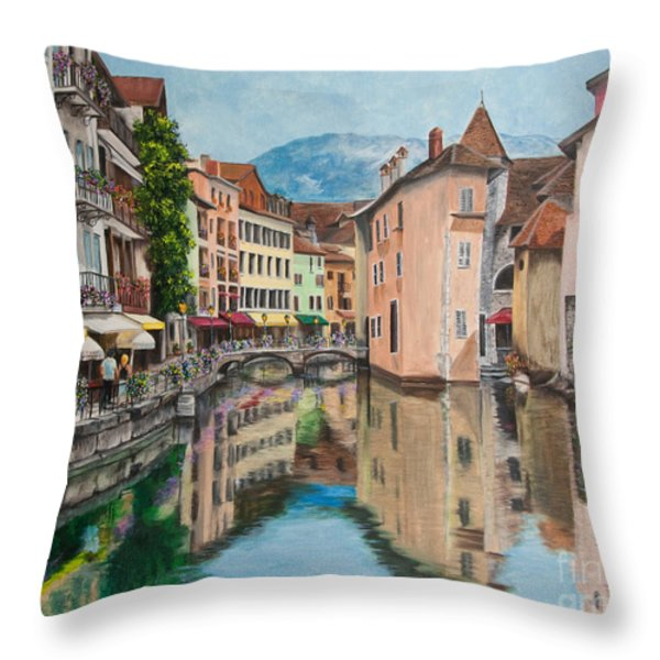 Reflections Of Annecy Throw Pillow by Charlotte Blanchard