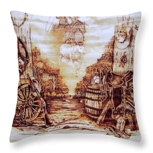 Riders In The Sky Throw Pillow by Danette Smith
