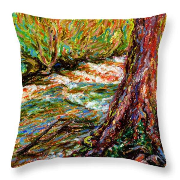 River Hafren In September Throw Pillow by Alexandra Cook