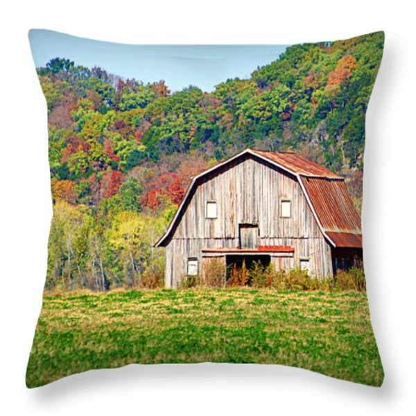 Riverbottom Barn In Fall Throw Pillow by Cricket Hackmann