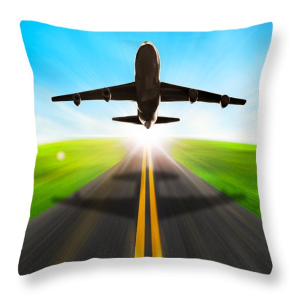 Road And Plane Throw Pillow by Setsiri Silapasuwanchai