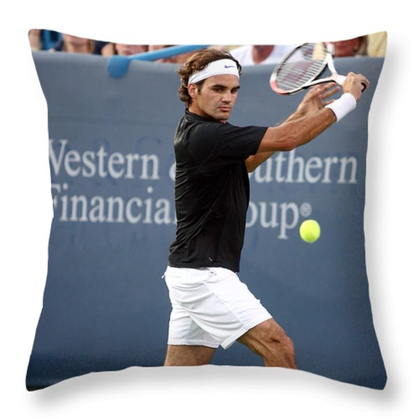 Roger Federer Throw Pillow by Keith Allen