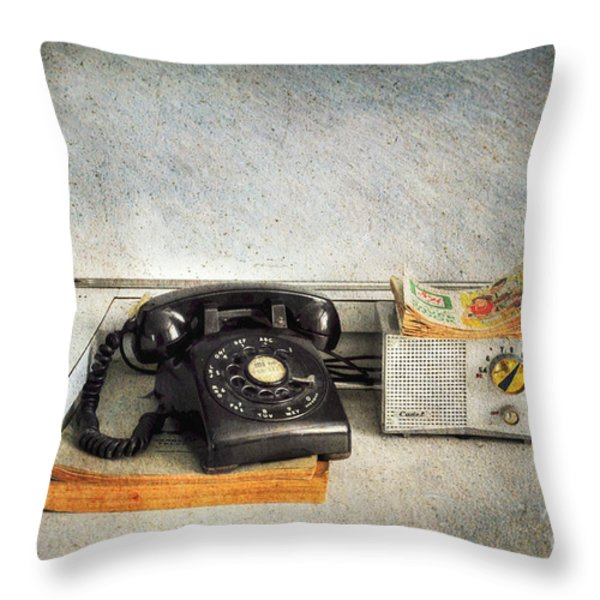 Rotary Dial Phone In Black S And H Stamps Throw Pillow by Paul Ward