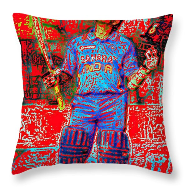 Sachin Tendulkar-100th 100-god Of Criket Throw Pillow by Piety Dsilva