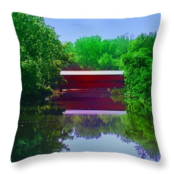 Sachs Covered Bridge - Gettysburg Pa Throw Pillow by Bill Cannon