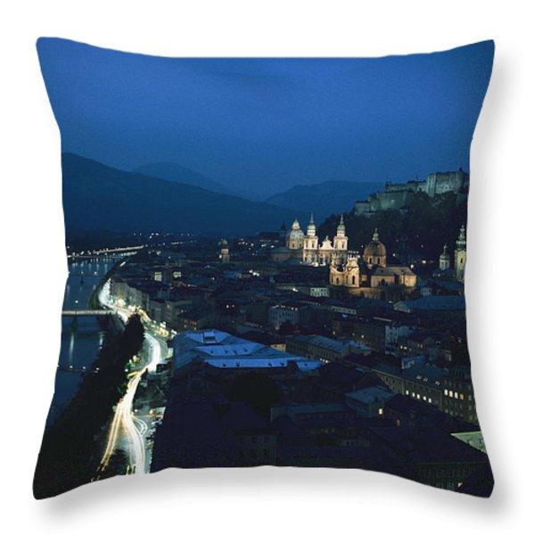 Salzburg, Austria, Night View Throw Pillow by George F. Mobley