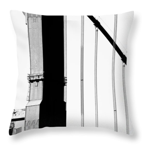 San Francisco Golden Gate Bridge . Black And White Photograph . 7d7954 Throw Pillow by Wingsdomain Art and Photography
