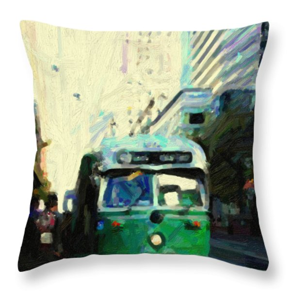 San Francisco Trolley F Line On Market Street Throw Pillow by Wingsdomain Art and Photography