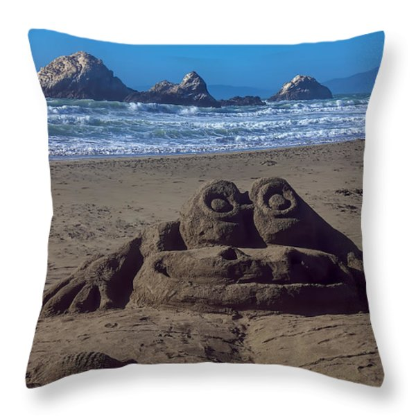 Sand Frog Throw Pillow by Garry Gay
