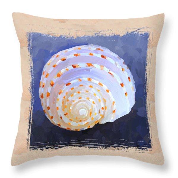 Seashell Iv Grunge With Border Throw Pillow by Jai Johnson