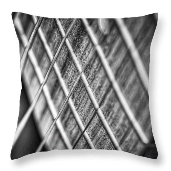 Six Strings Throw Pillow by Scott Norris
