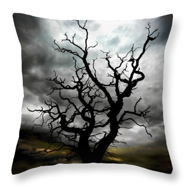 Skeletal Tree Throw Pillow by Meirion Matthias