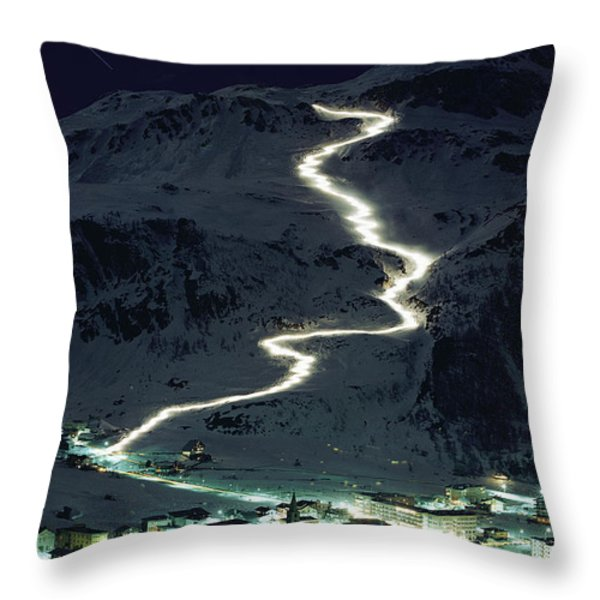 Skiers Bearing Torches Ski Down Mont Throw Pillow by George F. Mobley