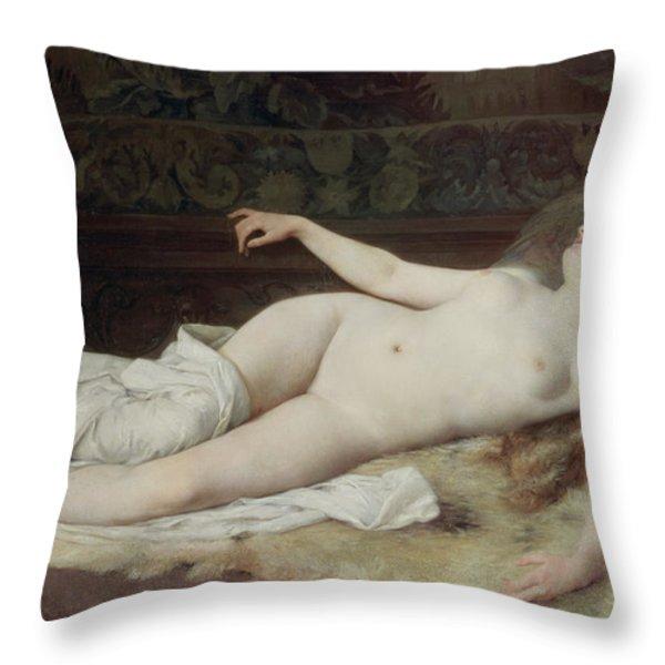 Sleep Throw Pillow by Louis Joseph Raphael Collin