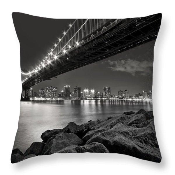 Sleepless Nights And City Lights Throw Pillow by Evelina Kremsdorf