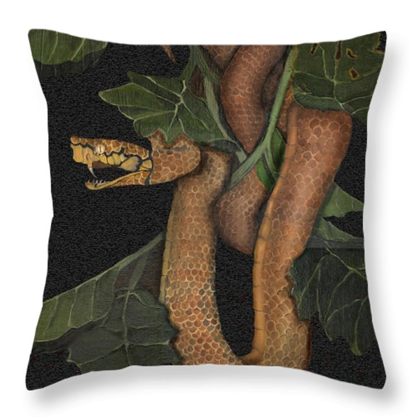 Snake Of No Kind Throw Pillow by Karen-Lee