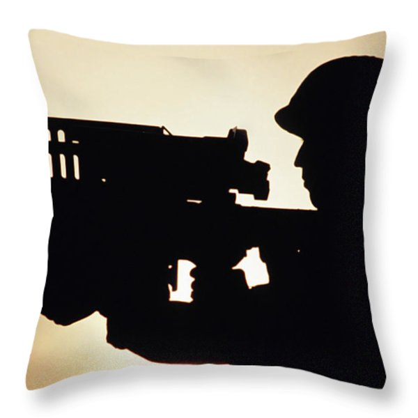 Soldier Holds A Stinger Anti-aircraft Throw Pillow by Stocktrek Images